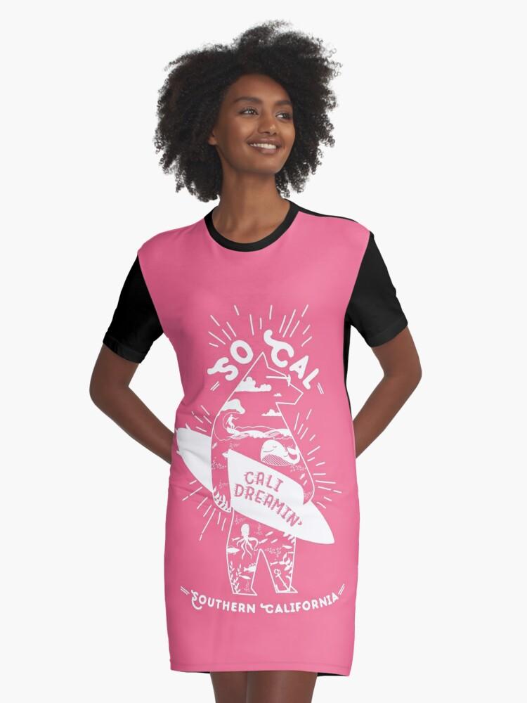 SoCal Cali Dreamin' Pink Bear Shirt //  Southern California Shirt // SoCal Surfer Shirt // Surfer Bear Shirt // California Adventure // California Adventurer Graphic T-Shirt Dress Front