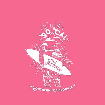 SoCal Cali Dreamin' Pink Bear Shirt //  Southern California Shirt // SoCal Surfer Shirt // Surfer Bear Shirt // California Adventure // California Adventurer by meowmeows
