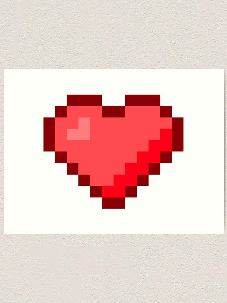 One Heart Pixel Art Art Print By Jcpixeline Redbubble