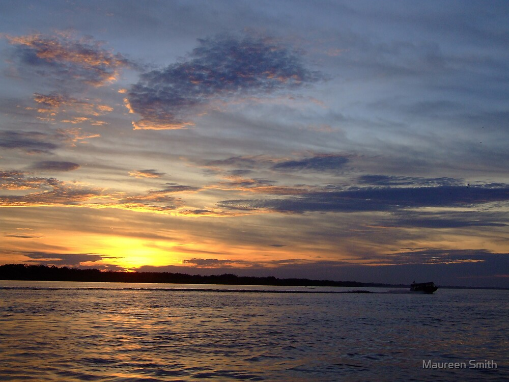 Sunset on the Amazon River, South America by Maureen Smith