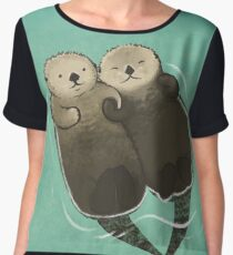 Significant Otters - Otters Holding Hands Chiffon Top