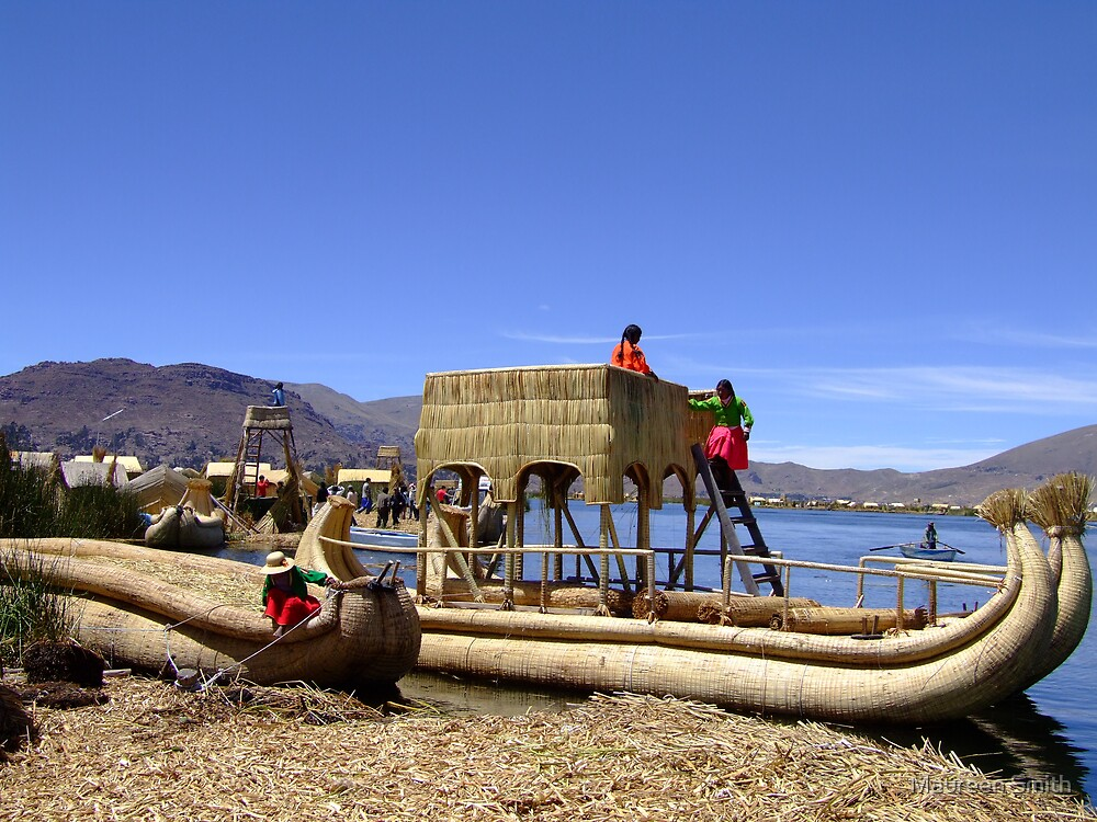 Reed Boat, Reed Islands, Lake Titicaca by Maureen Smith
