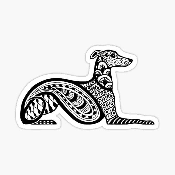 Zentangle Whippet Sticker
