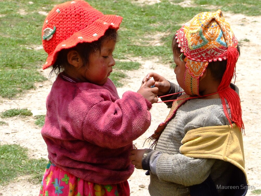 Checking out the necklace, Sacred Valley, Peru. by Maureen Smith