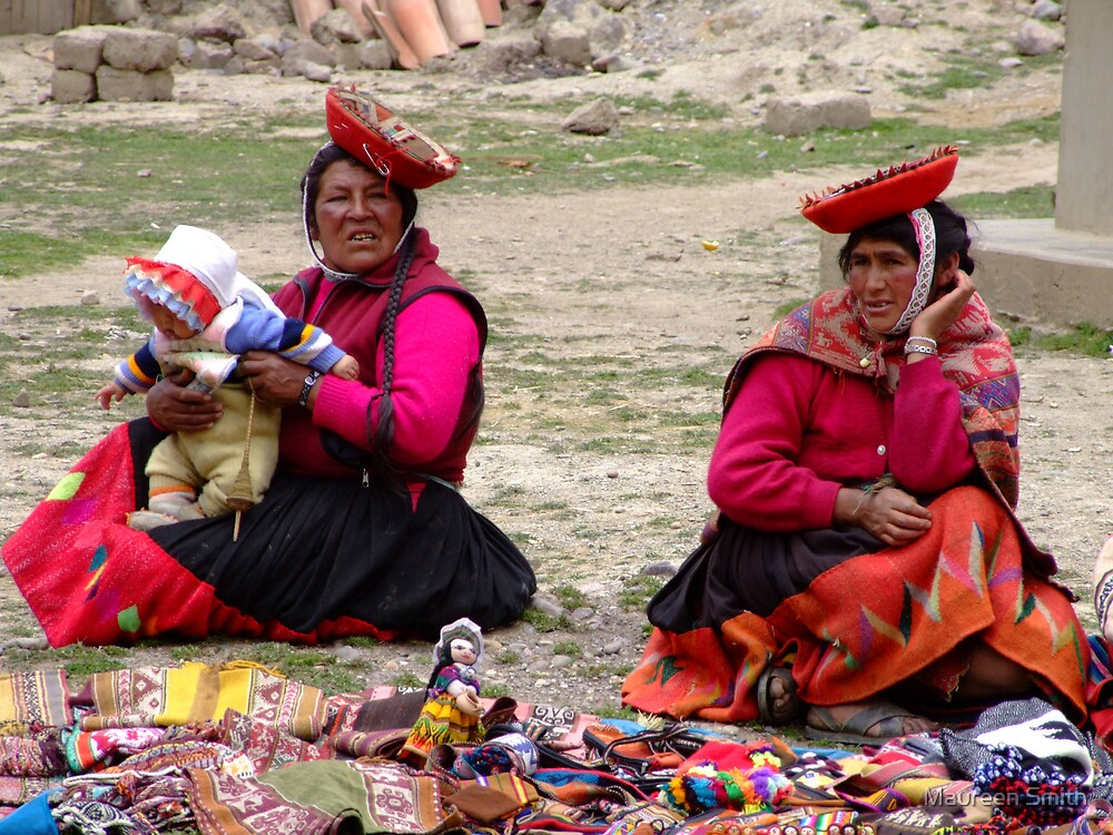 Two ladies and a baby....Sacred Valley, Peru by Maureen Smith