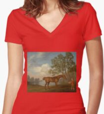 George Stubbs - Pumpkin With A Stable-Lad 1774 Women's Fitted V-Neck T-Shirt