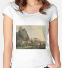 George Stubbs - Landscape With Hunters Women's Fitted Scoop T-Shirt