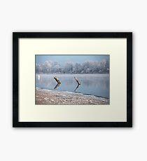 Winter river landscape Framed Print