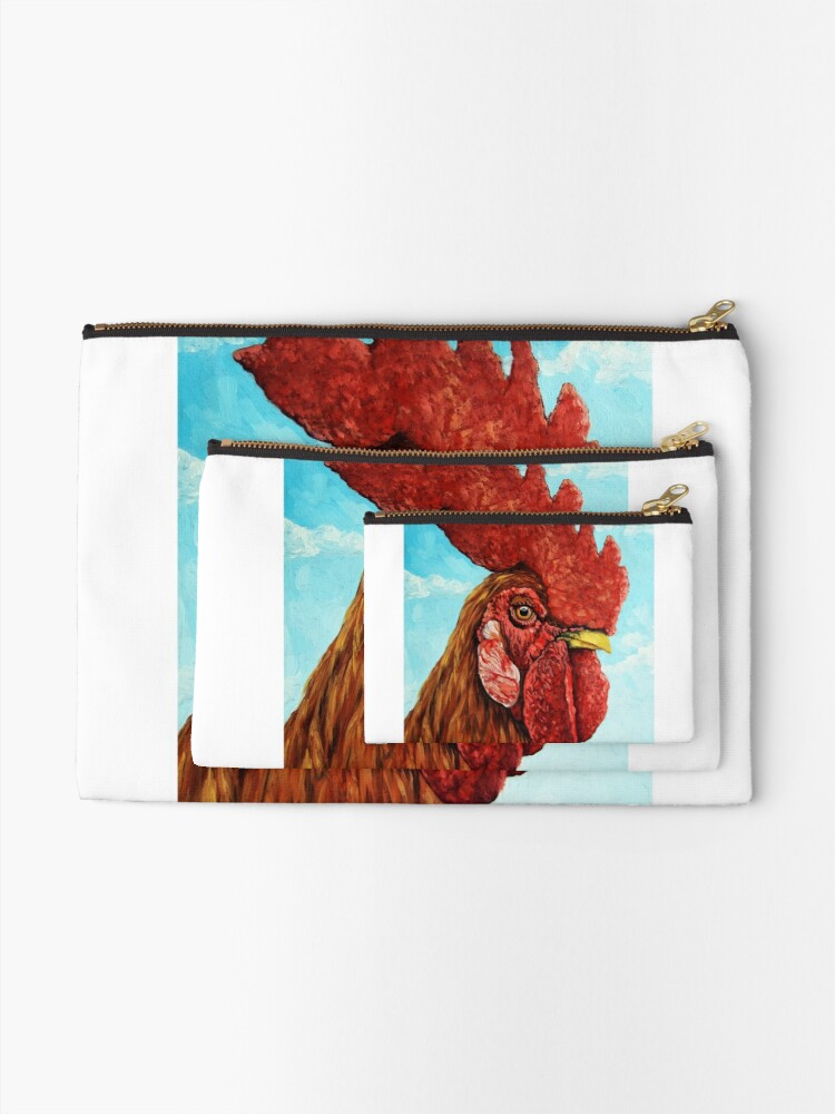 Alternate view of ROOSTER - realistic oil painting farm animal Zipper Pouch