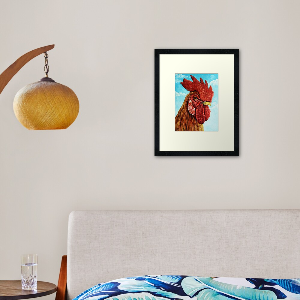 ROOSTER - realistic oil painting farm animal Framed Art Print