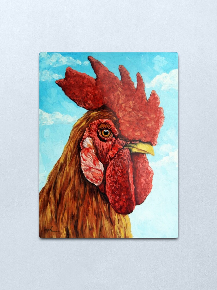 Alternate view of ROOSTER - realistic oil painting farm animal Metal Print