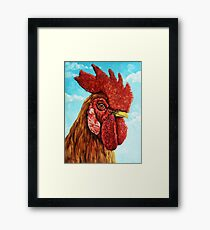ROOSTER - realistic oil painting farm animal Framed Print