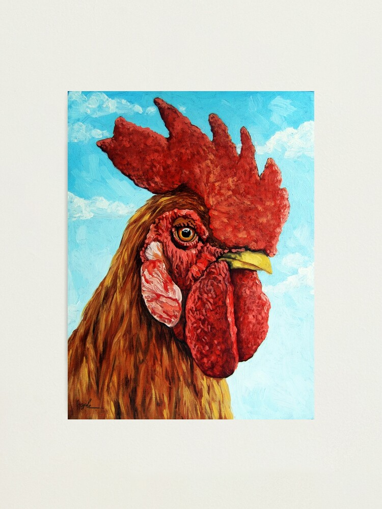 Alternate view of ROOSTER - realistic oil painting farm animal Photographic Print
