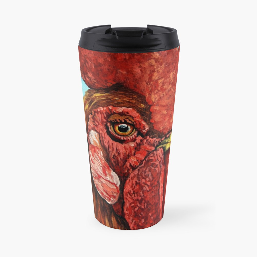 ROOSTER - realistic oil painting farm animal Travel Mug