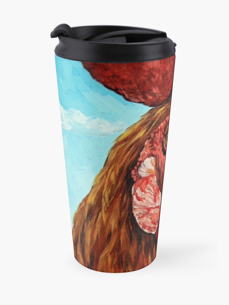 Alternate view of ROOSTER - realistic oil painting farm animal Travel Mug
