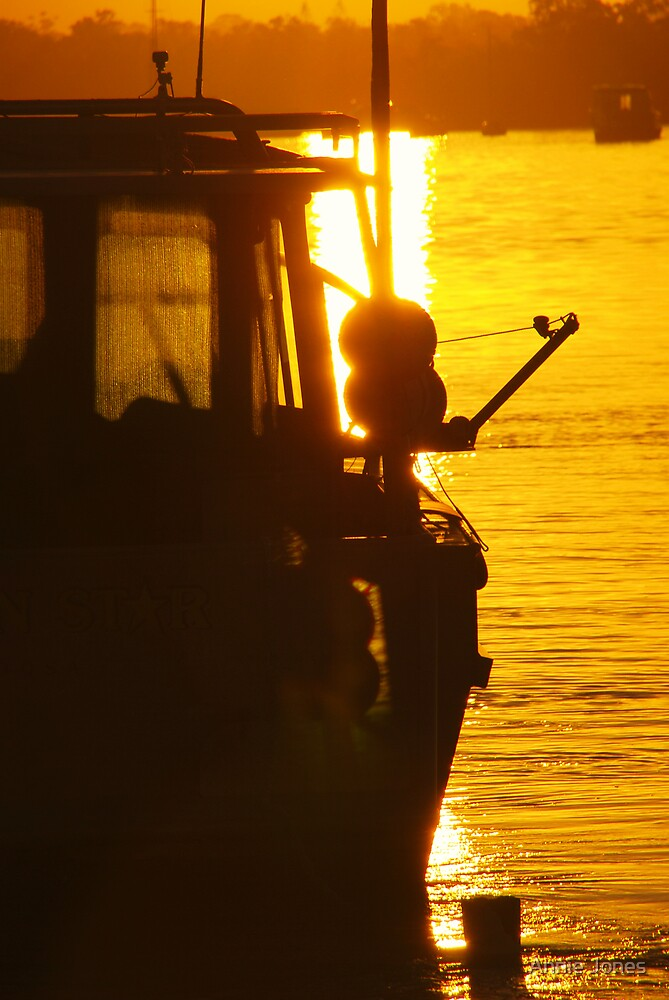 Fishing at sunset by Annie Jones