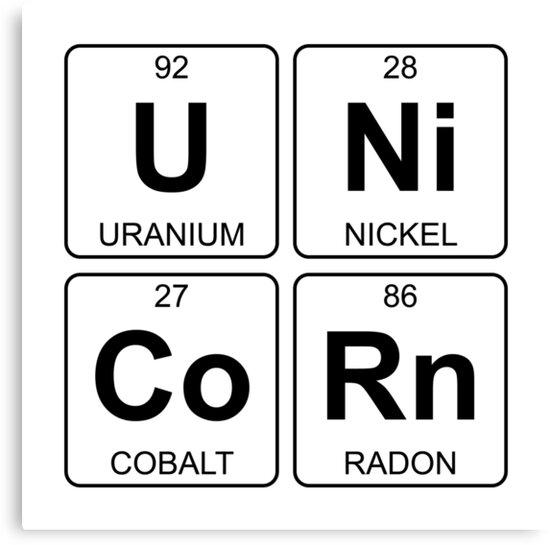 U Ni Co Rn Unicorn Periodic Table Chemistry Canvas Prints By