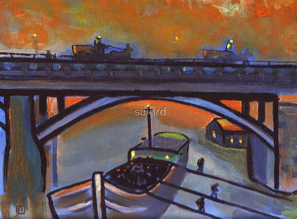 Unloading coal ( from my original acrylic painting ) by sword