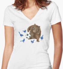 Wrens football Wombat Women's Fitted V-Neck T-Shirt