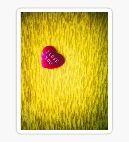 I love you heart on yellow background Sticker