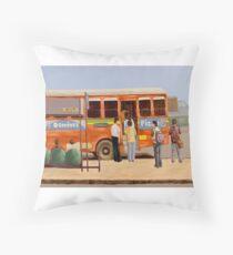 Mumbai City Bus Stop Throw Pillow