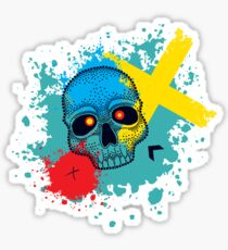 Pattern with dotted skull, arrows, crosses and red blots. Sticker