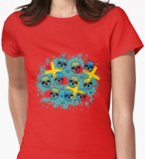 Pattern with dotted skull, arrows, crosses and red blots. Womens Fitted T-Shirt