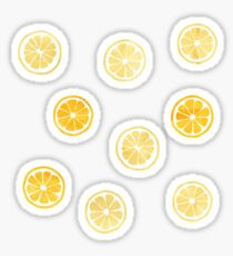 Yellow Watercolor Lemon Slices Pattern Sticker