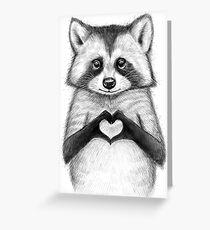 Raccoon with heart Greeting Card