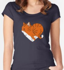 Heart Ginger Cat Women's Fitted Scoop T-Shirt