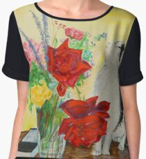 Fluff Smells the Lavender - painting Women's Chiffon Top
