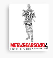 Metal Gear Solid 4: Guns of the Patriots - Old Snake - Typography  Canvas Print