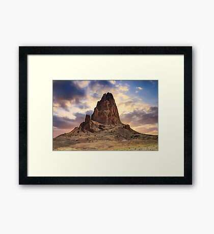 Shiprock Monolith Sunset - Monument Valley - American Southwest Framed Print