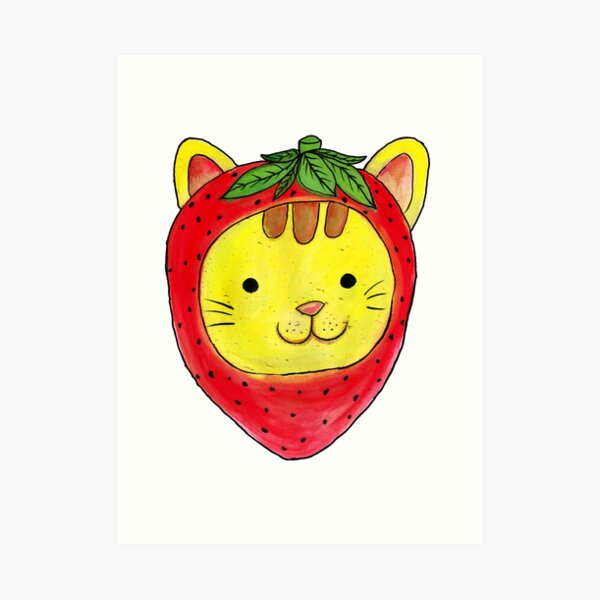 Strawberry cat  Art Print