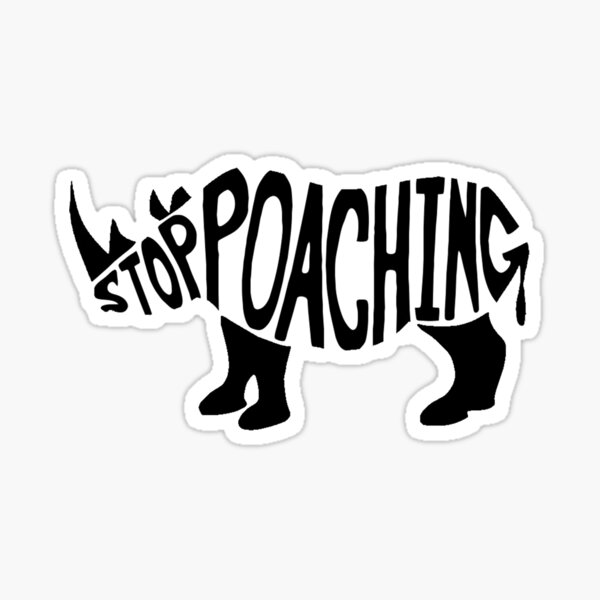 Stop Poaching Rhino: Black Sticker