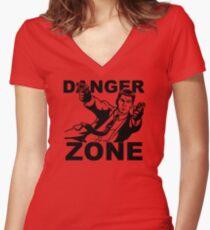 Archer Danger Zone FX TV Funny Cartoon Cotton Blend Women's Fitted V-Neck T-Shirt