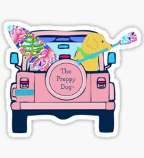 Pegatina Preppy Pink Jeep Golden Retriever Junta SUP