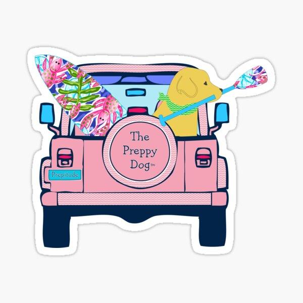 Preppy Pink Jeep Golden Retriever SUP Board Sticker