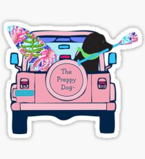 Preppy Pink Jeep Black Lab SUP Board Sticker