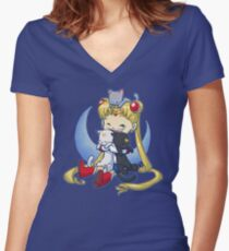 Crazy Moon Cat Lady Women's Fitted V-Neck T-Shirt