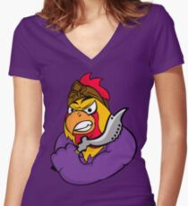 The Mighty Ethnic Rooster Women's Fitted V-Neck T-Shirt