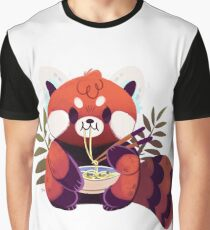 Red Panda Eating Ramen Graphic T-Shirt