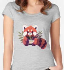 Red Panda Eating Ramen Fitted Scoop T-Shirt