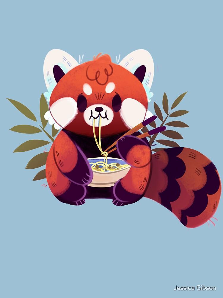 Red Panda Eating Ramen by Jessiedrawz