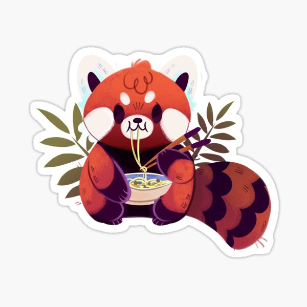 Red Panda Eating Ramen Sticker