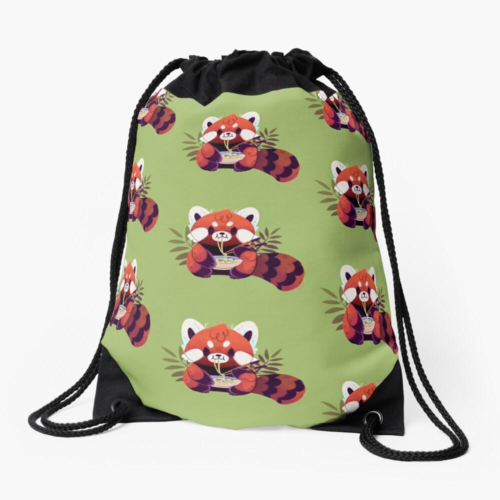Red Panda Eating Ramen Drawstring Bag