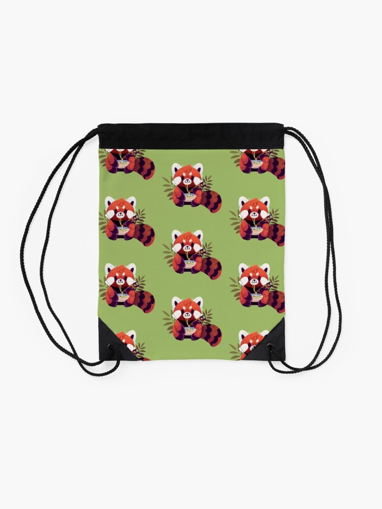 Alternate view of Red Panda Eating Ramen Drawstring Bag