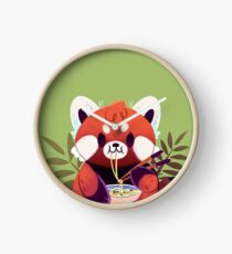 Red Panda Eating Ramen Clock