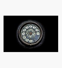 Old black telephone. Close-up of a rotary dial Photographic Print