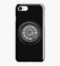 Old black telephone. Close-up of a rotary dial iPhone Case/Skin